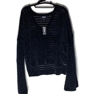 Express open knit black cropped sweater NWT